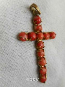 Pendentif En Croix Vintage / Antique Chinois Export Gilt Silver & Coral Cabochon Cross