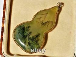 Pendentif En Verre Doré En Verre Peint À La Main Antique Antique Chinois Double Reverse