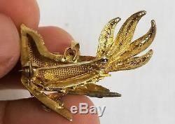 Pendentif Oiseau Du Paradis En Émail Filigrane Antique Chinois Doré