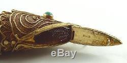 Pendentif Poisson Articulé Vintage En Filigrane Argent Chinois Doré Avec Comparment