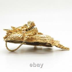 Pendentif Som's 925 Sterling Silver Gold Plaqué Dragon Slide