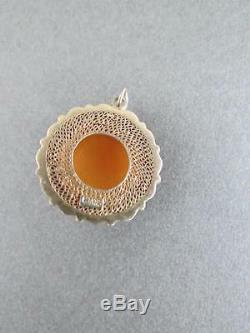 Pendentif Vintage Chinois En Oeuf Caramel Écossais Jaune Ambre