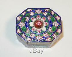 Petit Or Chinois Argent Doré Cloisonné Repousse Émail Lion Design Jar Box