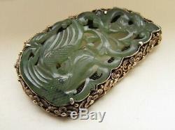 Pin Antique Chinois Sculpté En Jade Et Argent Massif