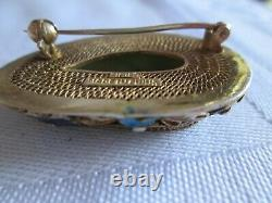 Pin De Broche D'argent Doré D'émail D'émail De Jade Découpée Chinoise Vintage