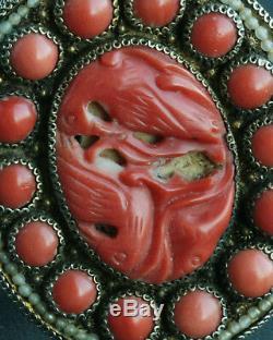 Pince / Goupille En Argent Massif Doré Gravé De Corail Sculpté Chinois Antique