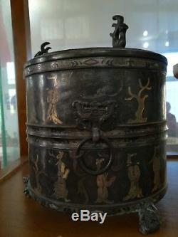 Pot À Vin En Bronze Chinois Zun Inlays Silver Couvercle À Motif Humain Doré