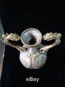 Pot D'or Et D'argent Chinois Bronze Doré Dragon Et Phénix Veines Deux Pots De Poignée De Dragon