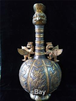 Pot D'or Et D'argent Chinois En Bronze Doré
