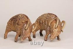 Prix Drop Chinese Paire Argent Doré Filipgree Émaillé Ram Sculptures 20ème C