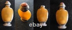 Qing Agate Chinese Snuff Bottle Coral Silver Gold Par Maquet Striker Lighter 19ème