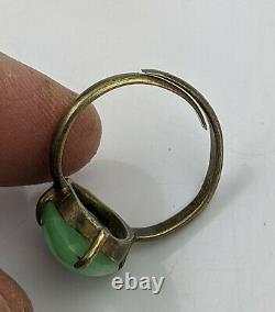 Qing Antique Chinois / République Céladon Jade & Gilt Hallmarked Ring Réglable