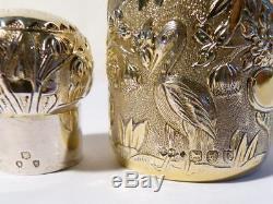 Qualité 1893 Chinois Repousse Chinoiserie Doré Argent Parfum Flacon De Parfum 4