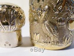 Qualité 1893 Chinois Repousse Chinoiserie Gilt Parfum Argent Parfum Bouteille 4