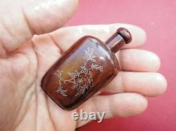 Rare Antique Or Chinois Et Argent Inleyed Bouteille De Snuff En Bois Parfait