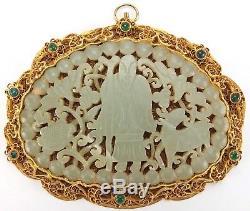 Rare, Antique, Pendentif En Filigrane Doré Argent Chinois, Logeant Un Jade Vert Sculpté