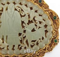 Rare, Antique, Pendentif En Filigrane Doré En Argent Chinois De Jade Vert Sculpté