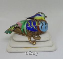 Rare Coloré Canard Mandarin Chinois Oiseaux Émail Argent Or Gilt Filigrane Pin