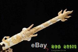 Rare Dragon Chinois Épée 24k + Argent Montage Clay Motif En Acier Trempé