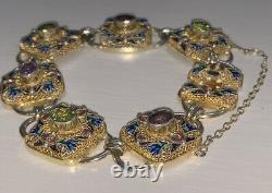 Rare Et Beau Bracelet De Pierre Gemme En Or Doré En Argent Chinois Antique