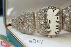 Rare Large Antique Chinois Argent Doré Sculpté Panneau Chiffres Asie Bracelet 60 G