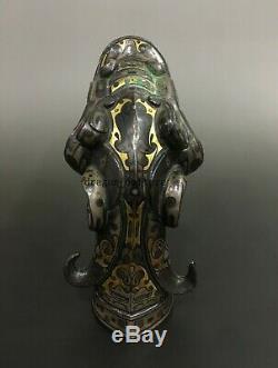 Rare Sceptre Chinois À La Main En Bronze Doré Et Argenté