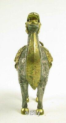 Rare Statue De Chameau En Argent Doré Avec Un Motif De Bête