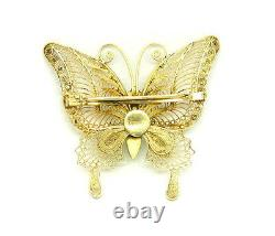 Rare Vintage Chinois Butterfly Cloisonne Émail Or Gilt Silver Broche Pin