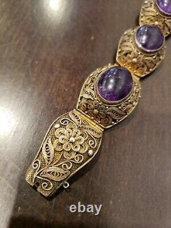 Rare Vintage Chinois Export Sterling Silver Amethyst Filigree Bracelet