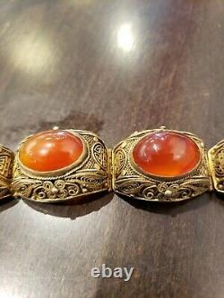 Rare Vintage Chinois Export Sterling Silver Red Gate Stone Filigree Bracelet