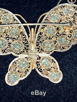 Rare Vintage Chinoise Papillon Argent Doré Filigrane Turquoise Broche / Pin