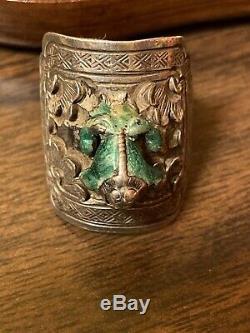 Rare Vintage Gilt En Argent Sterling Émail Export Chinois Frog Anneau Ajustable