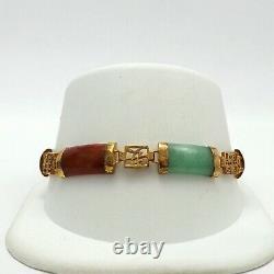 Rétro Or Vermeil Sterling Silver Multi Color Jade Chinese Symbol Link Bracelet