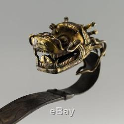 Sceptre Ruyi Dragon Argent Doré Dynasté Chinois Antique Xviie C. 1660