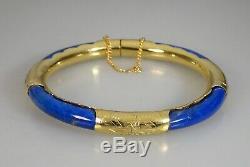 Sculpté Chinois Gilt Silver & Lapis Lazuli Bangle 57322