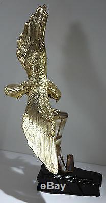 Sculpture Chinoise En Argent Massif Doré Représentant Un Œil De Tigre En Pierre Du Xxème Siècle