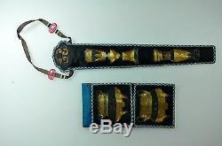 Set 5 Antique Chinois Chine Qing Broderie De Soie D'or D'argent Purse Fan Case1900