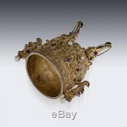 Set De Gem Impressionnant Chinois Antique Du Xixème Et Coupe D'empereurs Dorés En Argent V. 1880