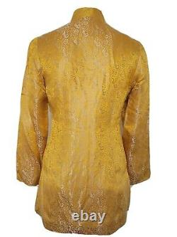 Shanghai Tang Or Argent Veste En Soie Taille 4 Mandarin Collier Grenouille Bouton Vintage