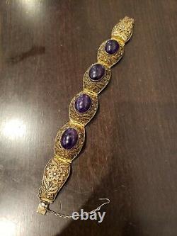 Silver Améthyste Filigree Bracelet De L'exportation De La Vinée De Rare