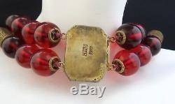 Special Collier Chinois Vintage Vintage En Argent Massif Doré Avec Cerise Et Ambre Bakelite 2