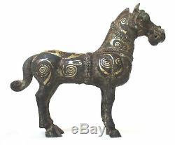 Statue Antique En Bronze Doré À La Chinoise, Sculpture De Cheval Archaïque