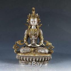 Statue De Bouddha Sculptée À La Main En Cuivre Doré Argent