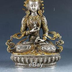 Statue De Vajrasattva Sculptée À La Main En Cuivre Doré Argent