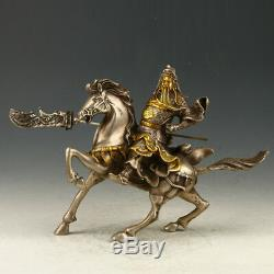 Statues Guan Yu Sculptées À La Main En Cuivre Argenté Doré À Collectionner