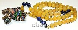 Ster Chinois. Silver Enamel Or 14k Perles Yellow Jade Filigree Foo Dog Necklace