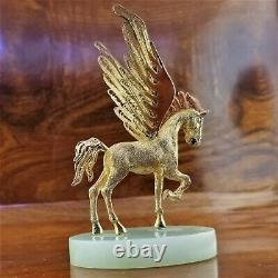 Suhai Chinois Cloisonne Sterling Silver & 24k Gold Gilt Émail Pegasus Jade Base