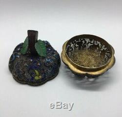 Superbe Antique 19ème Siècle Qing Chinoise Vermeil Et Émail Fruit Pot