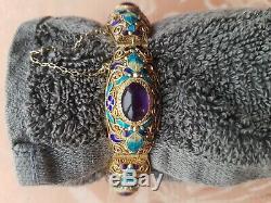 Superbe Antique En Argent Doré Filigrané Chinois, Émail Et Améthyste Bracelet