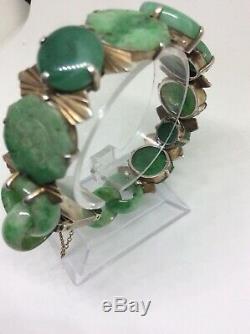 Superbe Bracelet Art Déco En Jade Chinoise Art Déco Vers 1920